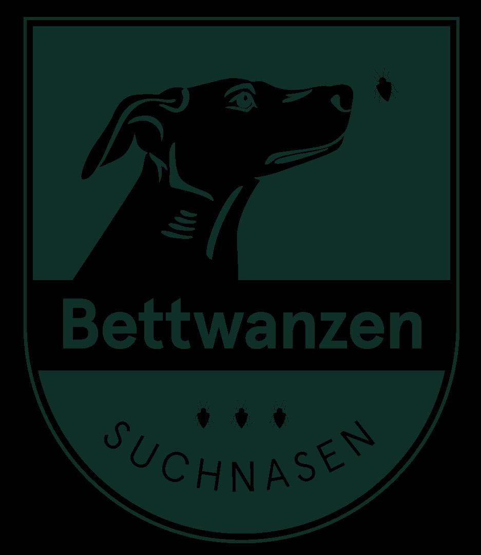 Bettwanzen Suchnasen Logo Hundekopf mit Bettwanzen